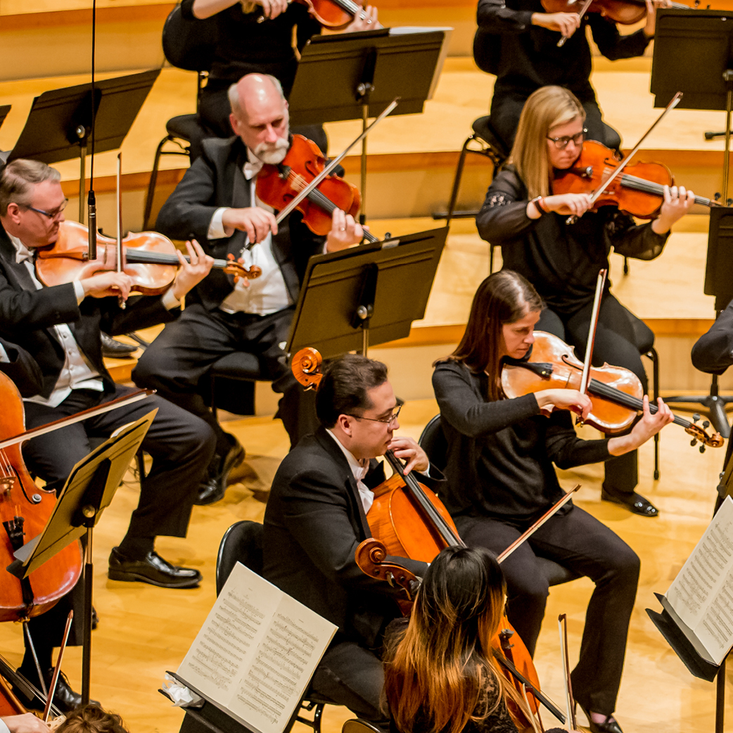 Photo of the Kansas City Symphony on stage in Helzberg Hall